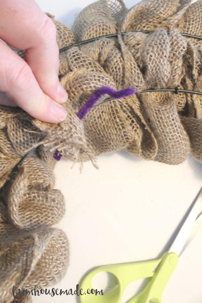 How to make a burlap wreath tutorial, by Farmhouse Made!