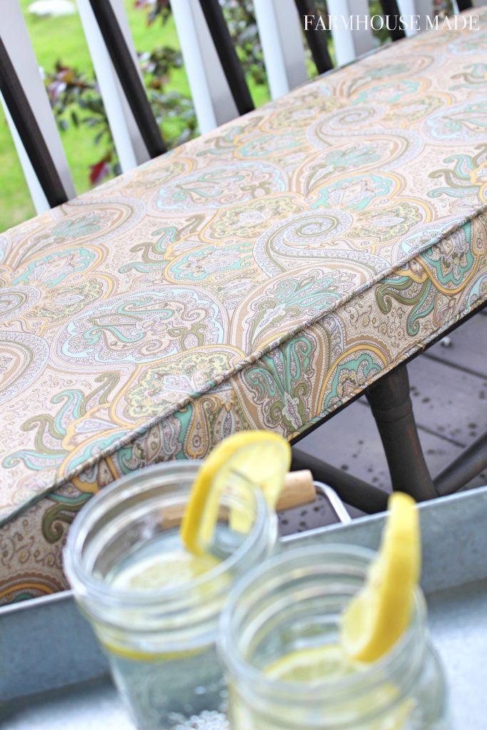 Farmhouse Porch Bench Cushion and Galvanized Tray