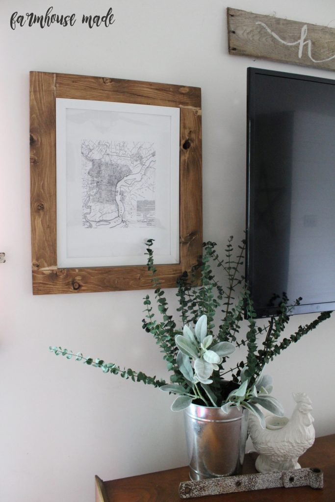 Use MAPS! Add a rustic wood frame, around a map to decorate a mantle or TV wall.