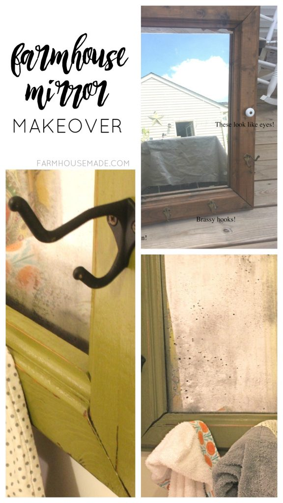 This transformation is amazing! A dated mirror flips to a chippy farmhouse mirror, that doubles as a towel holder! Amazing!