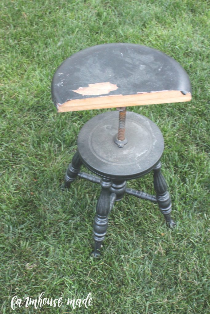 This is the before of an antique piano stool I flipped!