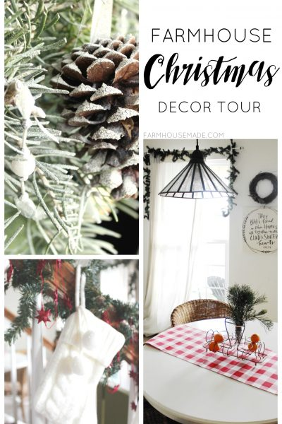 This is such a beautiful and simple farmhouse christmas decor tour! I love all the rustic touches, especially this adorable flocked tree - SO SIMPLE!