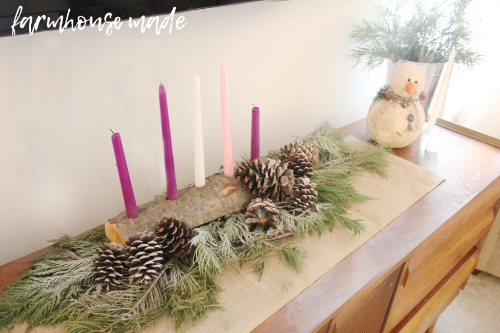 This is such a beautiful and simple farmhouse christmas decor tour! I love all the simple touches, especially the birch log advent wreath!