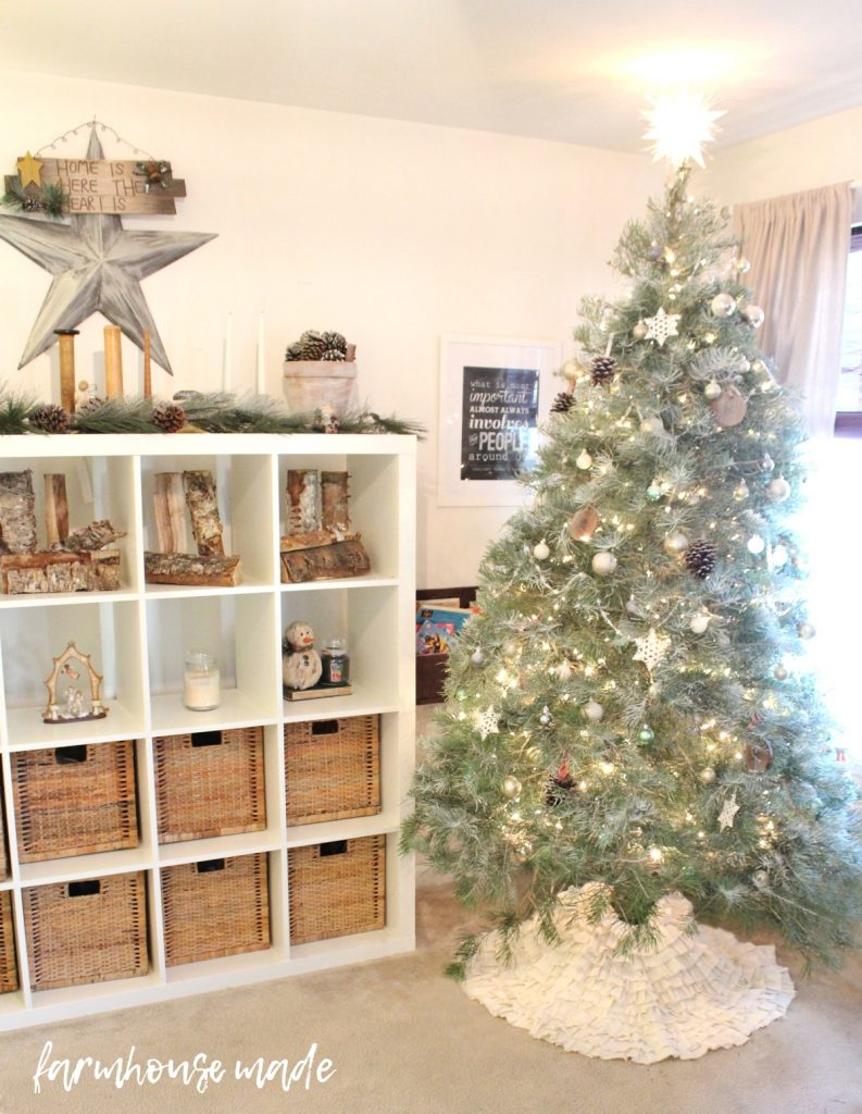 This is such a beautiful and simple farmhouse christmas decor tour! I love all the simple touches, especially the flocked tree!