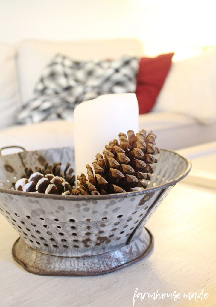 This is such a beautiful and simple farmhouse christmas decor tour! I love all the simple touches, especially this vintage strainer turned candle holder!!