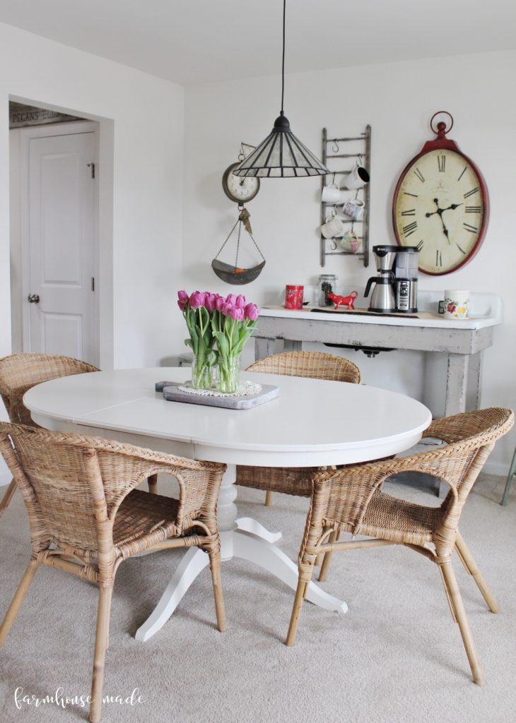 How lovely is that coffee bar? We need to upgrade our dining room chairs though...