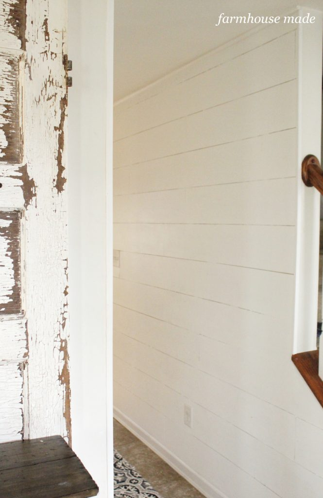 Look no further for the greatest way to add character to your home! Shiplap looks amazing - check out our farmhouse entryway!