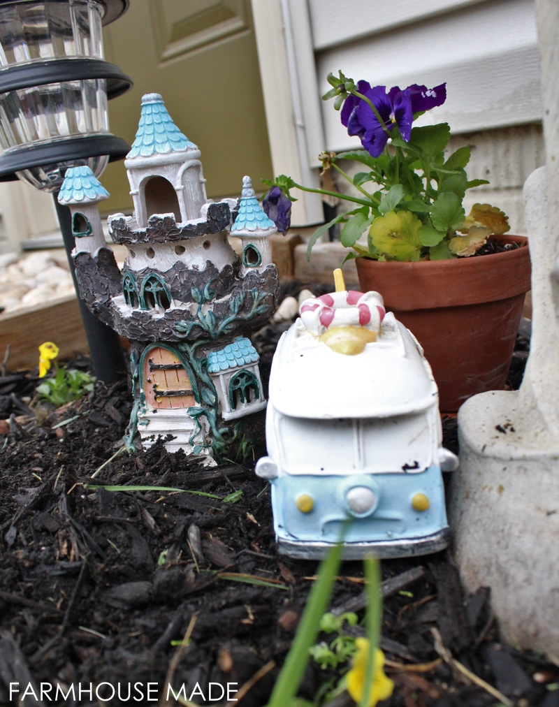 A DIY Fairy Garden made from a salvaged bird bath - this is crazy adorable! I love the surf wagon - My kids would love this, making it for sure!