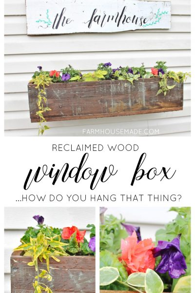 Add some farmhouse style and charm to your window, porch, or back yard by adding a DIY reclaimed wood window box! I'll also teach you how to hang a window box on vinyl siding!