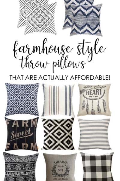 These are some adorable and super affordable farmhouse style throw pillows! They're perfect for when you can't afford Joanna's!