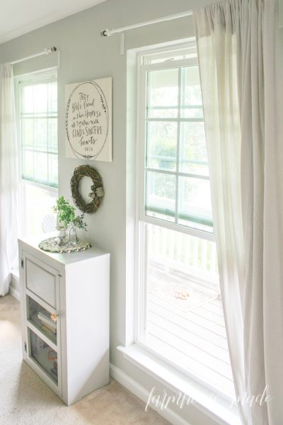 The dining room is painting my farmhouse neutral paint color - Agreeable Grey! It really brings the whole room together!