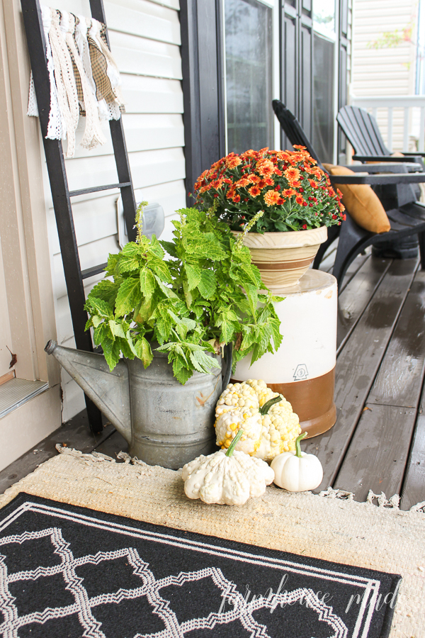 An antique watering can with some coleus, and vintage ceramics with mums add the perfect amount of charm to the porch. An Amish ladder tied with lace ribbon makes it perfect!