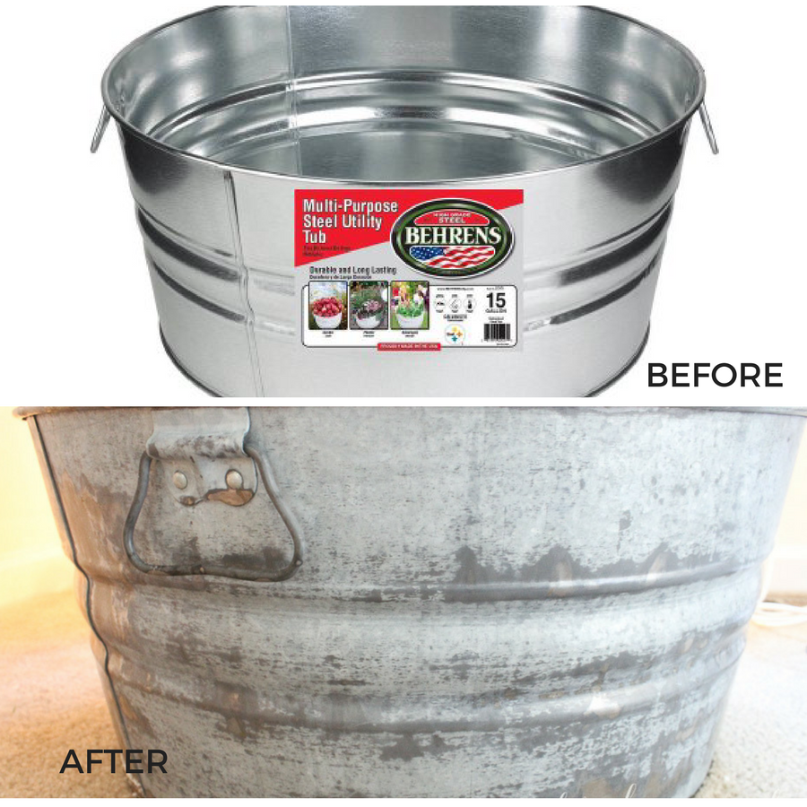 Take your galvanized metal from shiny and new, to crusty and antiqued in no time with these simple steps! Antique all your shiny new galvanized metal buckets to look just like their crusty (and expensive!) counterparts at antique shops! It's so easy, and adds so much character!