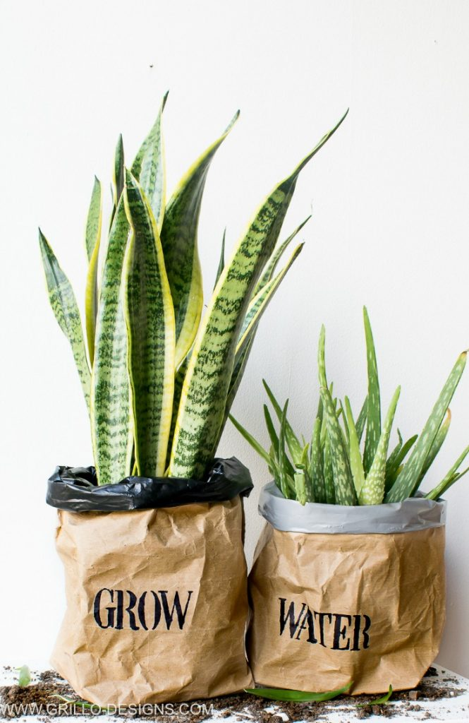 Make a Kraft paper bag planter! This one is even water proof - From Grillo Designs