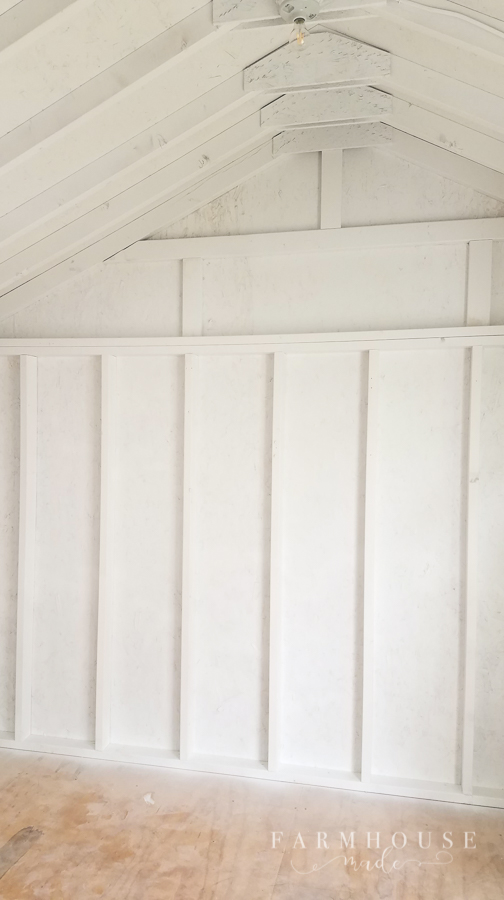 The walls of this light and bright, gorgeous she shed are looking amazing with a white eggshell finish, applied with an EPIC sprayer!