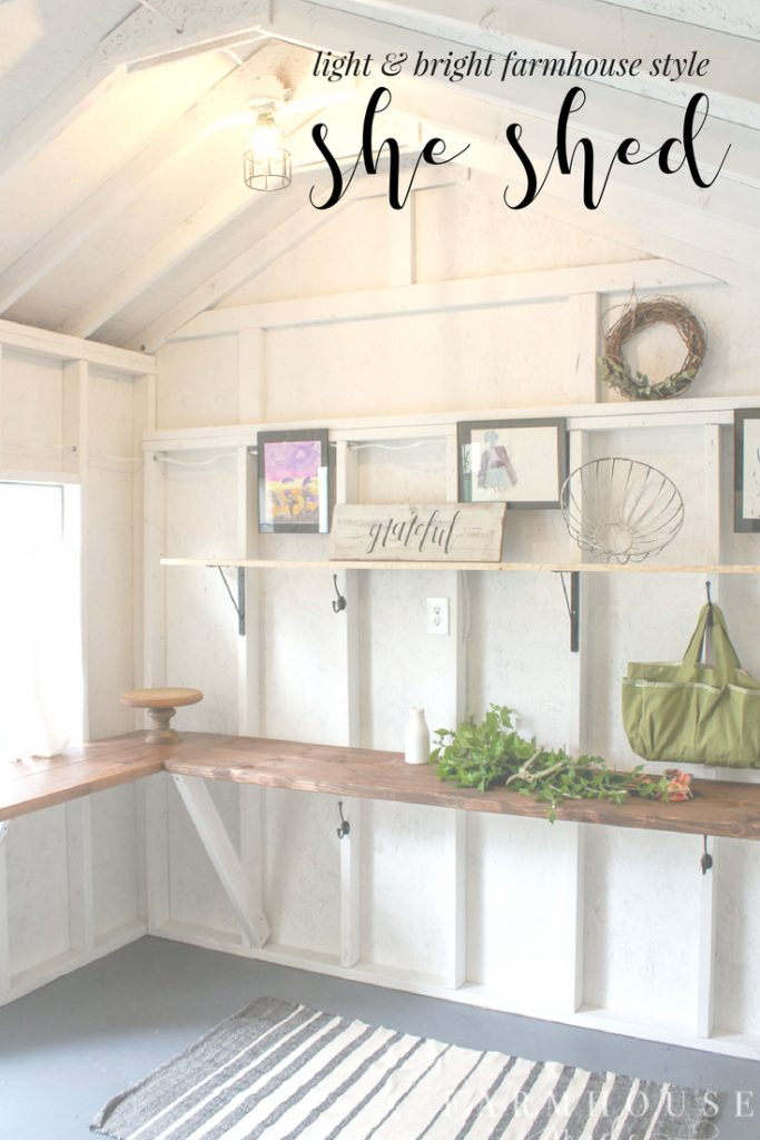 This she has gone from cob-web central to farmhouse style she shed perfection. It's got tons of storage and work space, and is the perfect area to do all the relaxing, creating, gardening, and organizing! All you need is a little paint, and some inspiration to get an amazing she shed!