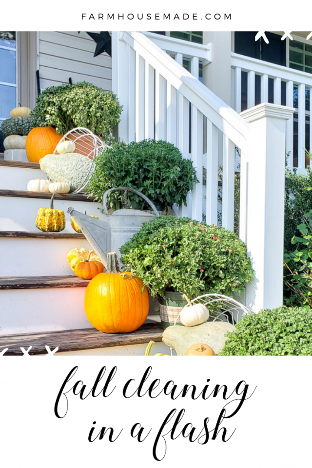 Get your fall cleaning done in a flash, pin this image, pumpkins, clean railing, mums, fall farmhouse porch