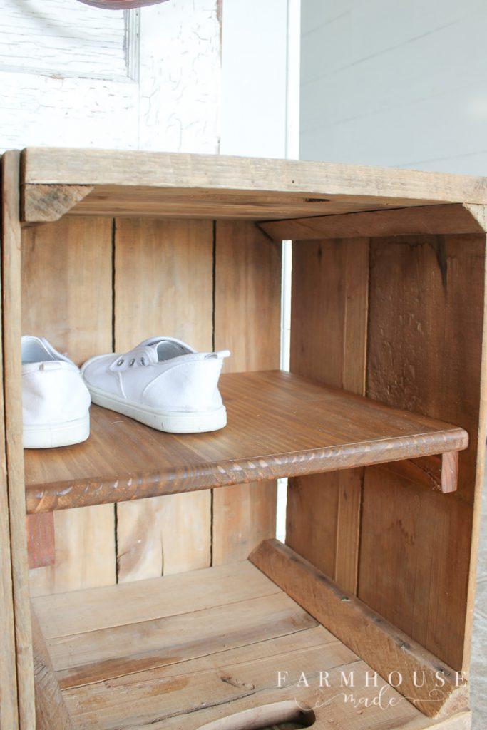 Adding a shelf inside 2 apple bushel boxes for storage