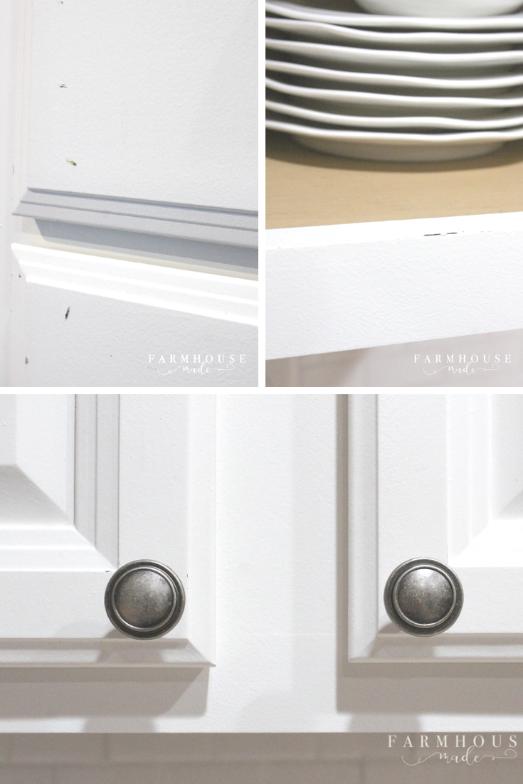 Minimal wear and tear shown on white painted kitchen cabinetry