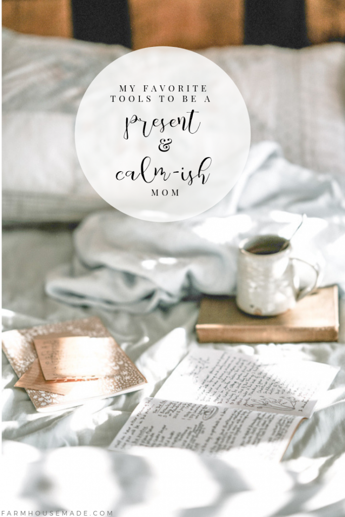 Cozy farmhouse bed, coffee, journaling supplies