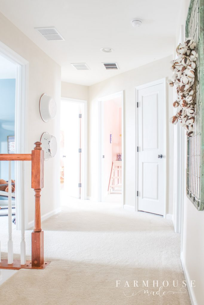 farmhouse style hallway calico cream
