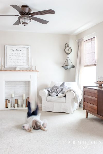 farmhouse living room calico cream
