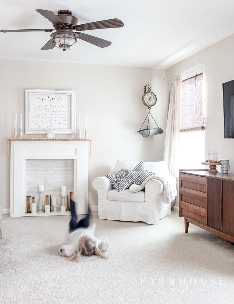 farmhouse living room calico cream
