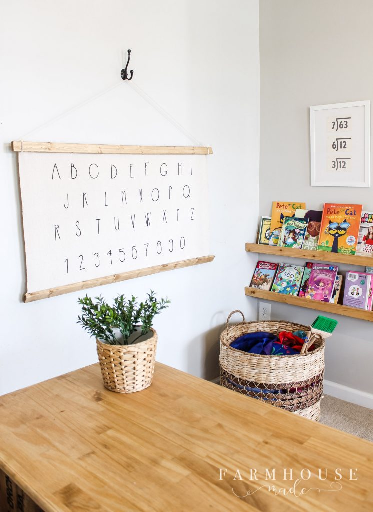 diy alphabet wall art in kids playroom with books