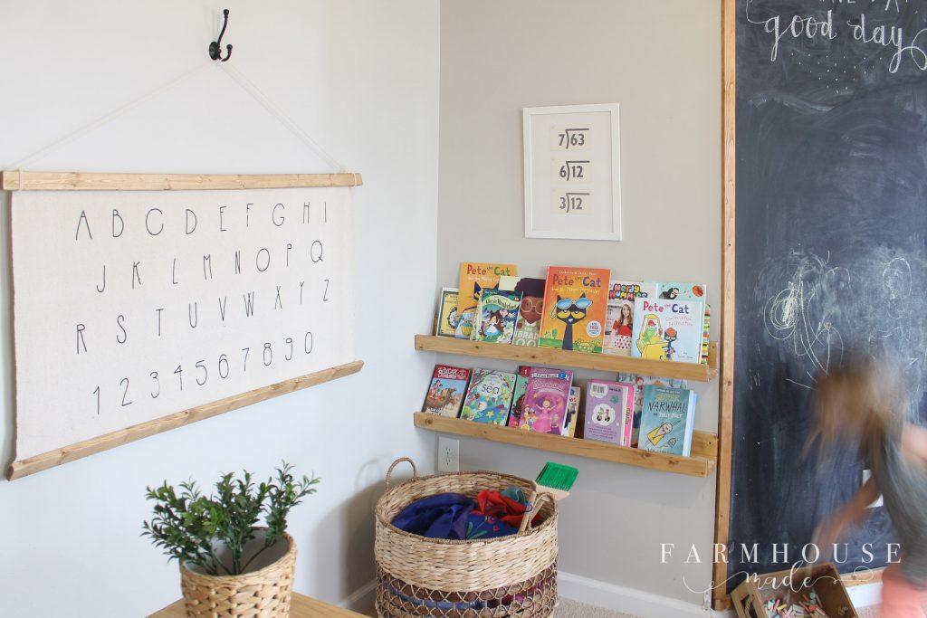 DIY Alphabet Wall Art in playroom
