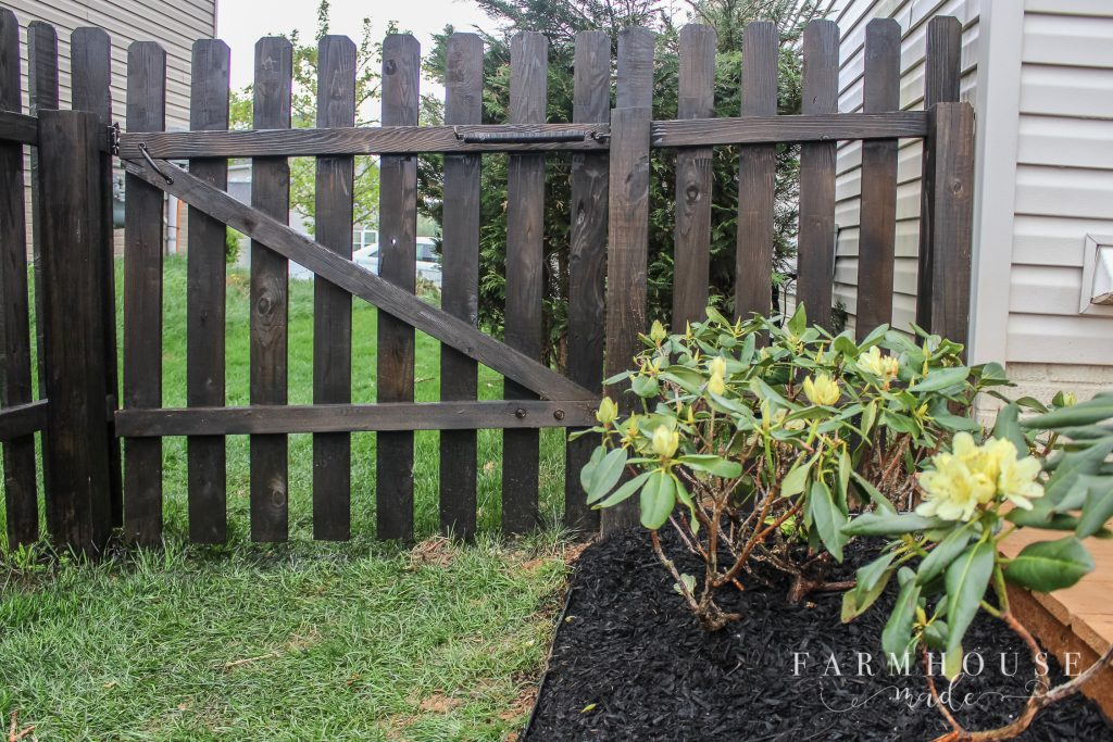 garden, stained fence and deck
