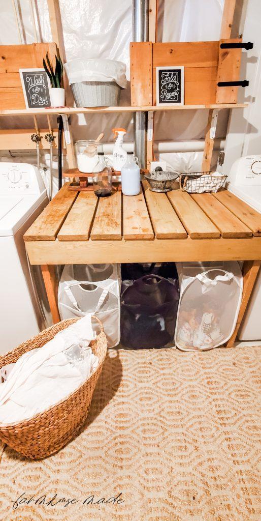 Boho Farmhouse Laundry Table Room
