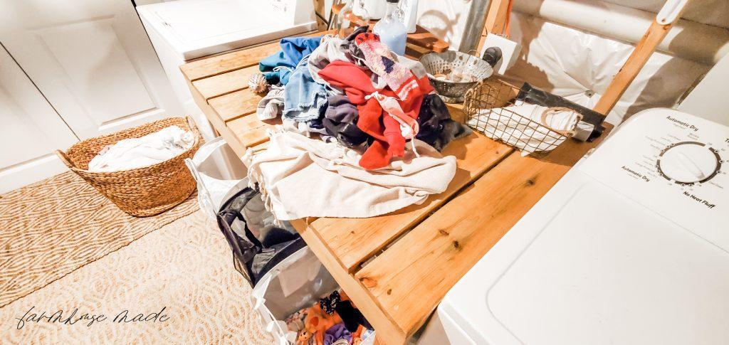 Farmhouse Laundry Room Sorting Laundry