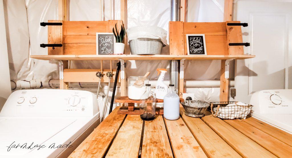 Boho Farmhouse Laundry Table with Glass Bottles